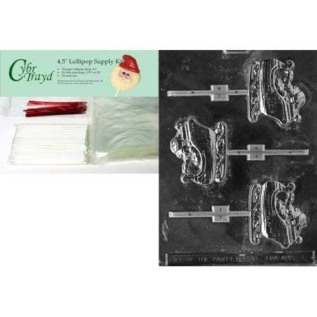 Cybrtrayd 45stK25R-C046 Sleigh Lolly Christmas Chocolate Mold with Lollipop Kit ()