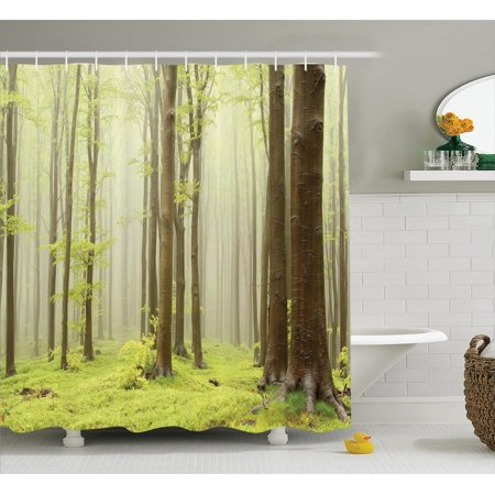 Woodland Decor Misty Spring Beech Forest Photo Taken In The Mountains Of Central Europe Bathroom Accessories 69w X 84l Inches Extra Long By
