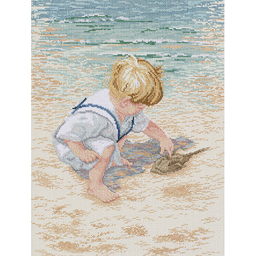 """Janlynn Boy With Horseshoe Crab Counted Cross Stitch Kit, 12"""" x 16"""", 14 Count"""