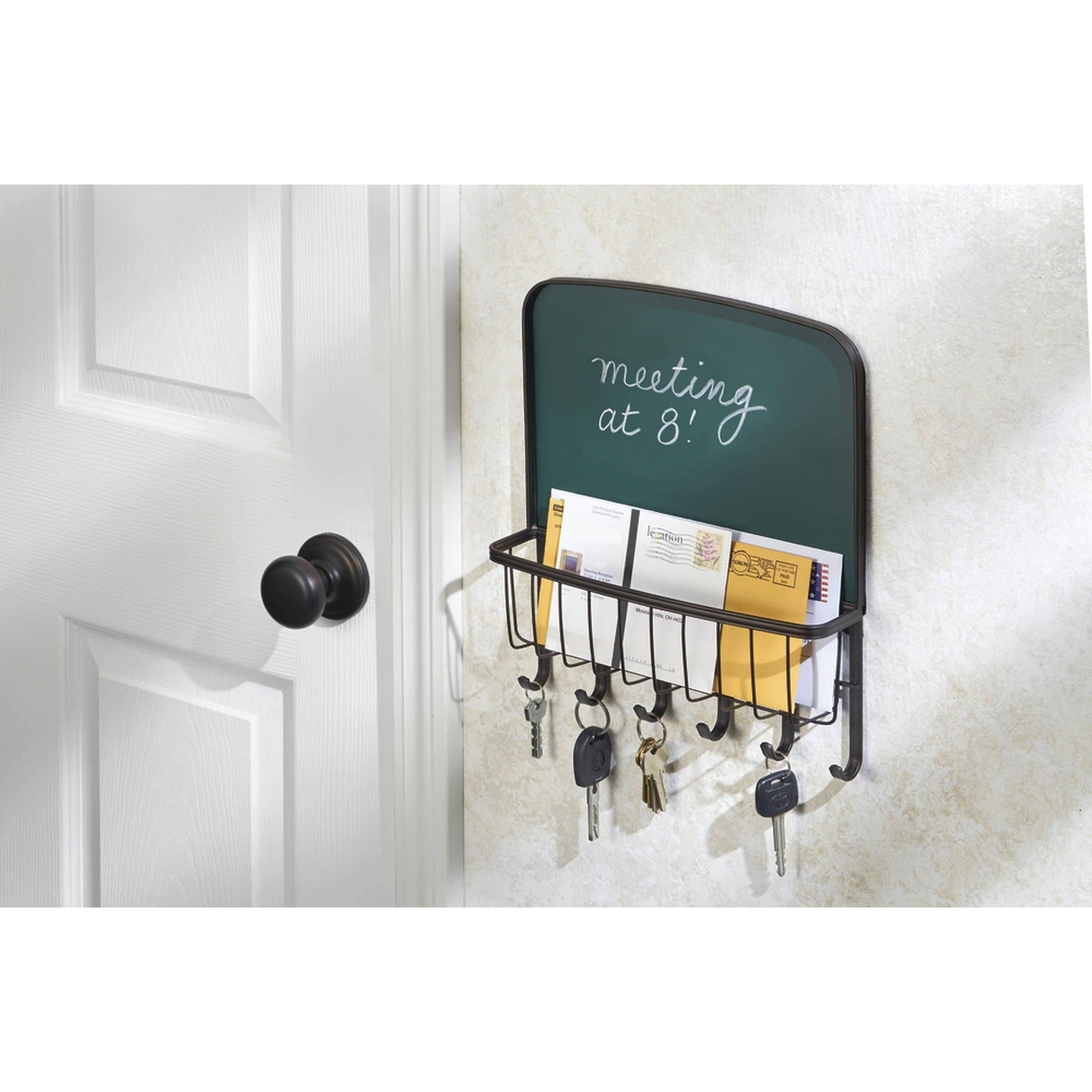 InterDesign York Lyra Mail, Letter Holder, Key Rack Organizer, Wall Mount, Bronze