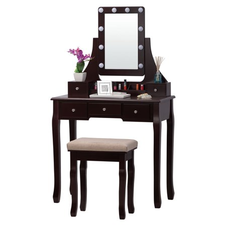 Stupendous Fineboard Led Lights Vanity Table Set With Stool And Mirror With 5 Drawers Brown Pabps2019 Chair Design Images Pabps2019Com
