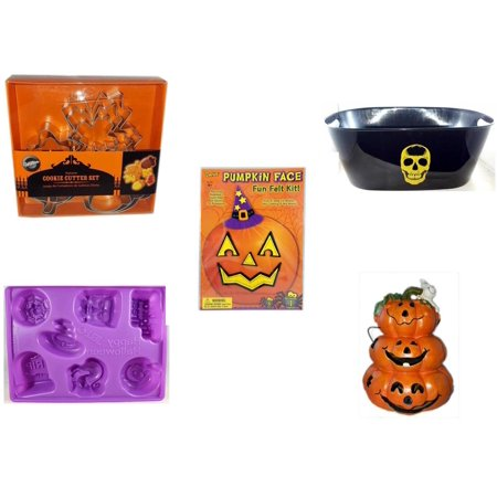 Halloween Fun Gift Bundle [5 Piece] - Wilton Autumn 8-Piece Cookie Cutter Set - Black With Skeleton Oval Party Tub - Darice Pumpkin Face Fun Felt Kit - Witch - Happy  Jell-O Mold - Motion-activated