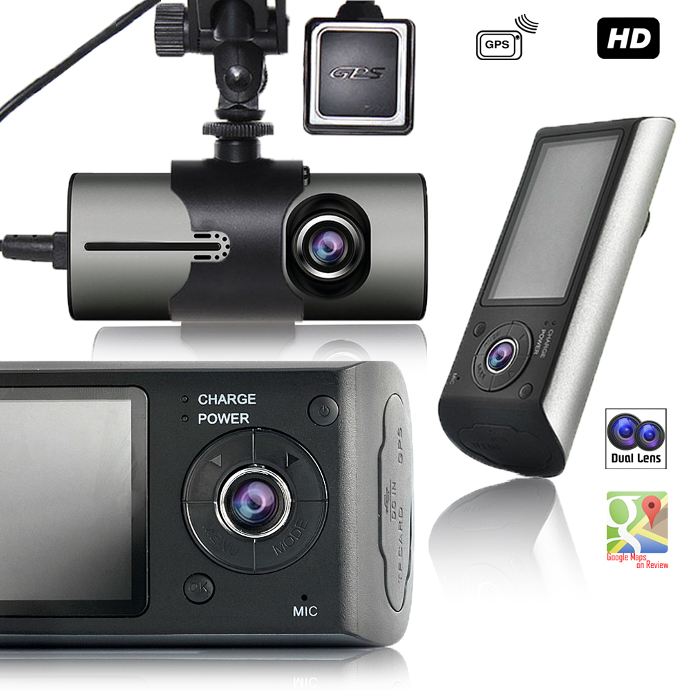 """Indigi 2.7"""" HD LCD Wide Angle Coverage Vehicle Recorder Dash Cam + GPS module + Dual Lens (Front + In Car)"""
