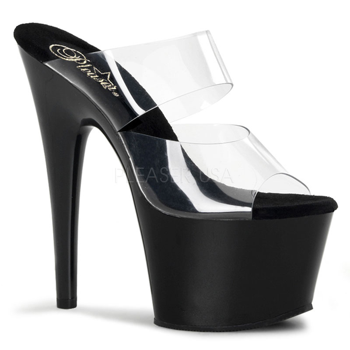 Pleaser ADORE-702, 7 Inch Stiletto Heel Two Band Slide Sa...
