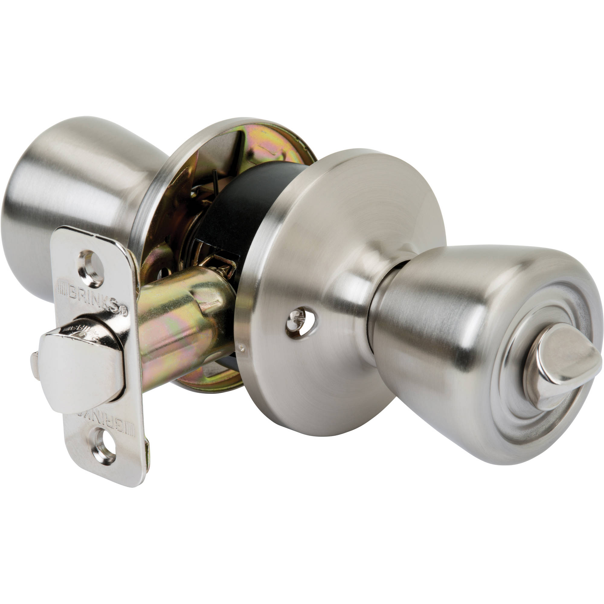 Brink's Tulip Style Privacy Bed & Bath Door Knob, Satin Nickel