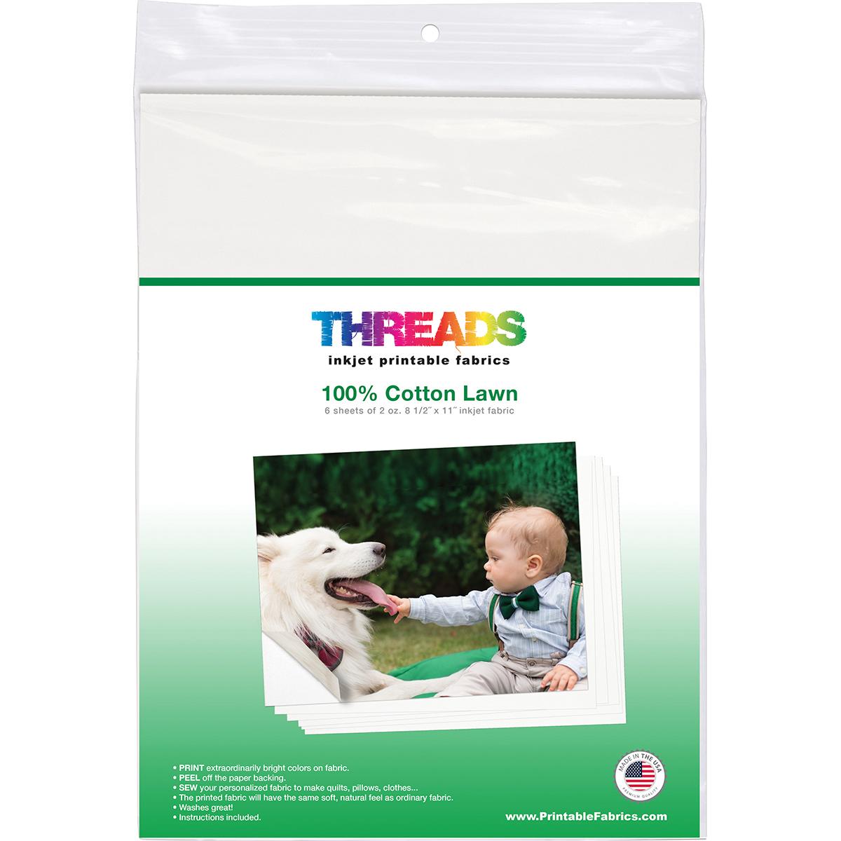 "THREADS Inkjet Printable Fabric Sheets 8.5""X11"" 6/Pkg-100% Cotton Lawn"