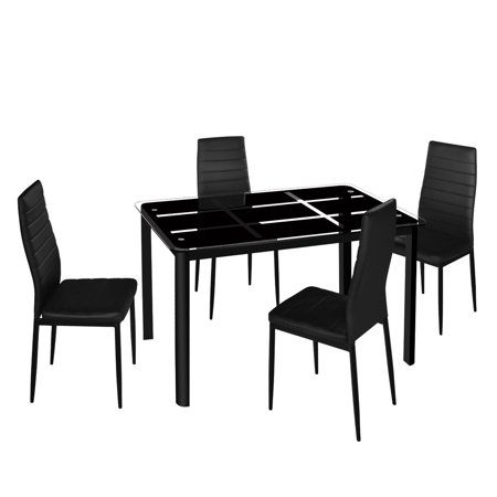 4pcs Elegant Assembled Stripping Texture High Backrest Dining Chairs with Simple Assembled Tempered a Rectangle Tempered Glass Dining Table with Nine Block Box Pattern Black ()