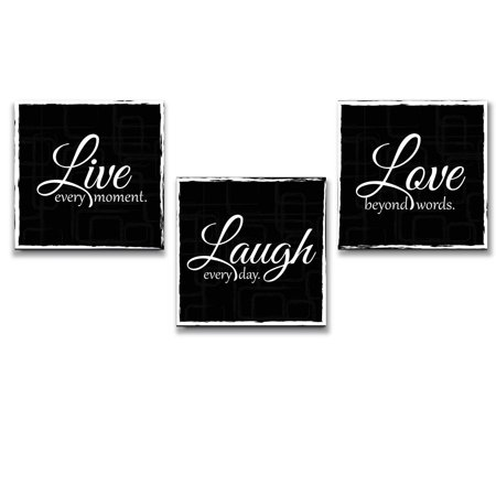 3 Piece Wall Decor - wall26 Live Laugh Love - 3 Piece Canvas Print - Wall Art Decor - Gallery Wrap Panels on Wooden Stretcher Bars - Colorful Design for Home - Beautiful Quote - Ready to Hang Black and White