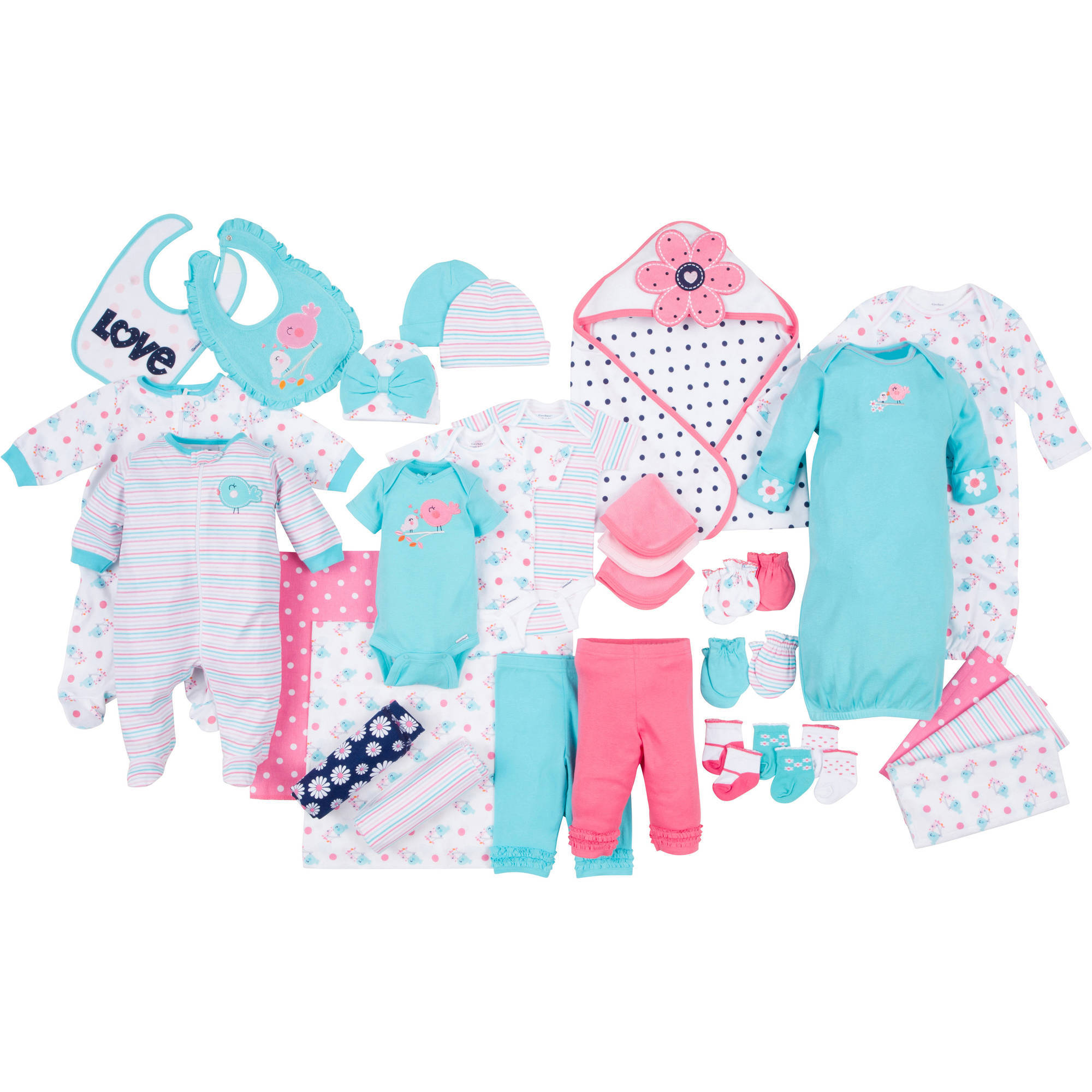 Gerber Newborn Baby Girl Perfect Baby Shower Gift 33 Pc Layette Set, Ages 0-3M