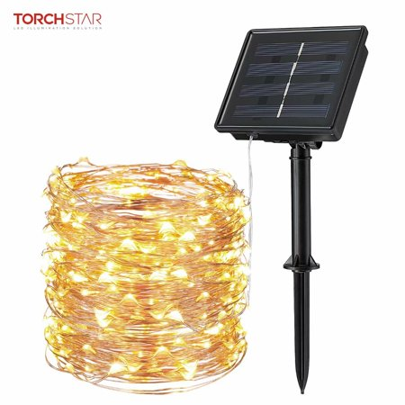 TORCHSTAR IP65 Outdoor Solar String Lights for Patio, 72ft 200 LED, Warm White ()