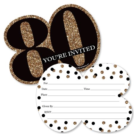 Adult 80th Birthday - Gold - Shaped Fill-In Invitations - Birthday Party Invitation Cards with Envelopes - Set of 12