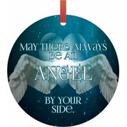 Ornaments Aqua May There Always Be An Angel By Your Side Semigloss Flat Round Shaped Ornament Xmas Tree Christmas Décor - Christmas Room Décor and Ornament Yard Decorations