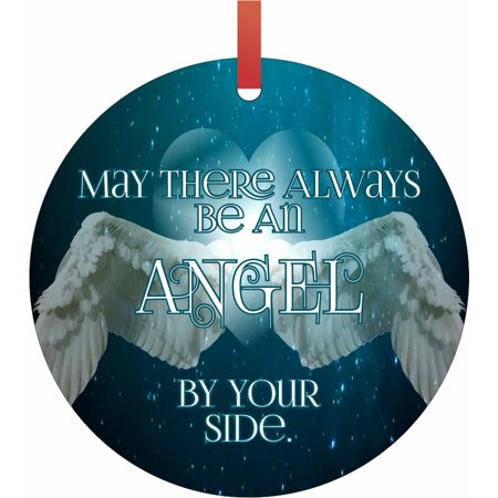 Ornaments Aqua May There Always Be An Angel By Your Side Semigloss Flat Round Shaped Ornament Xmas Tree Christmas Décor - Christmas Room Décor and Ornament Yard (Angel Shaped Ornament)
