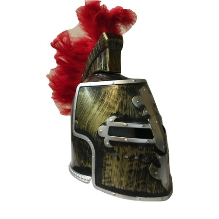 Antique Bronze Gold Medieval Knight Helmet Great Helm Crusader Costume Red Plume](Brobee Costume)