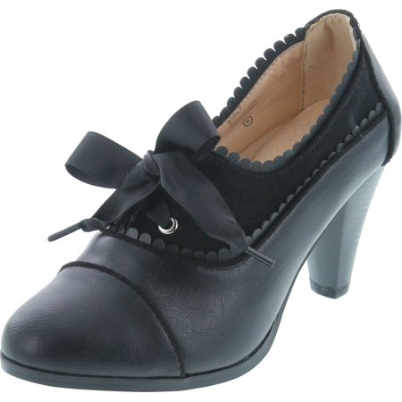 Chase & Chloe Dora-7 Lace-Up Vintage Cut-Out Women's Heeled Oxford Nylon Vintage Heels