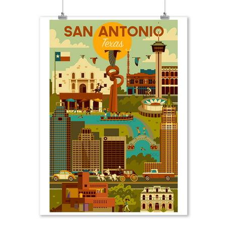 San Antonio, Texas - Geometric - Lantern Press Artwork (9x12 Art Print, Wall Decor Travel Poster)