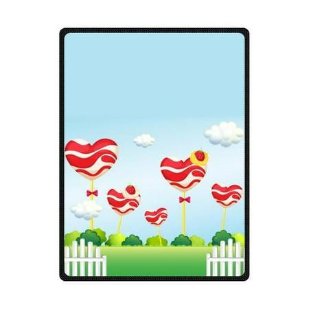 CADecor Red Lollipop Garden Theme Picture Fleece Blanket Throws 58x80 inches
