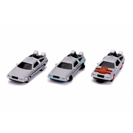 Back To The Future Time Machines 3-Pack, Gray - Jada 31583 - 1/65 scale Diecast Model Toy Car Scale Diecast Battle Machines