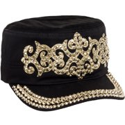 Women's Cotton Rhinestone Studded Medieval Military Cadet Cap Hat