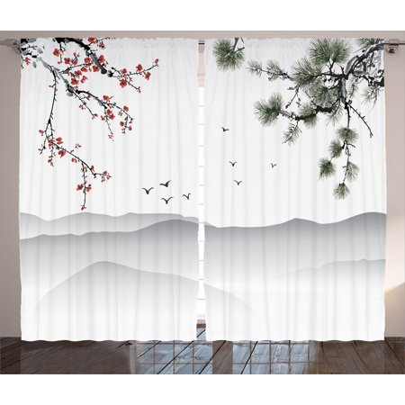 Japanese decor curtains 2 panels set chinese painting - Red black and white themed living room ...