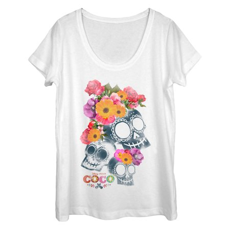 Floral Front Scoop Neck Tee (Coco Women's Floral Skeletons Scoop Neck)