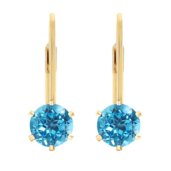2.00 Ct 6mm Round Blue Topaz Gold Plated Leverback Earrings