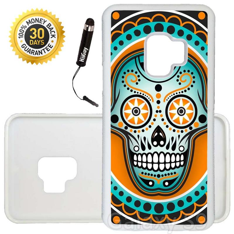 Custom Galaxy S9 Case (Sugar Skull Orange Teal) Edge-to-Edge Rubber White Cover Ultra Slim | Lightweight | Includes Stylus Pen by Innosub