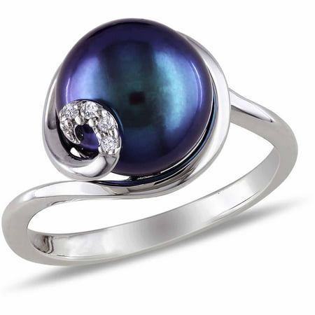 9-9.5mm Black Cultured Freshwater Pearl and Diamond-Accent Sterling Silver Swirl Ring ()