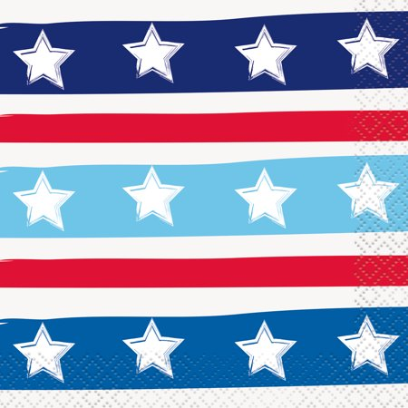 - Bright Stars & Stripes Patriotic Paper Beverage Napkins, 5in, 32ct