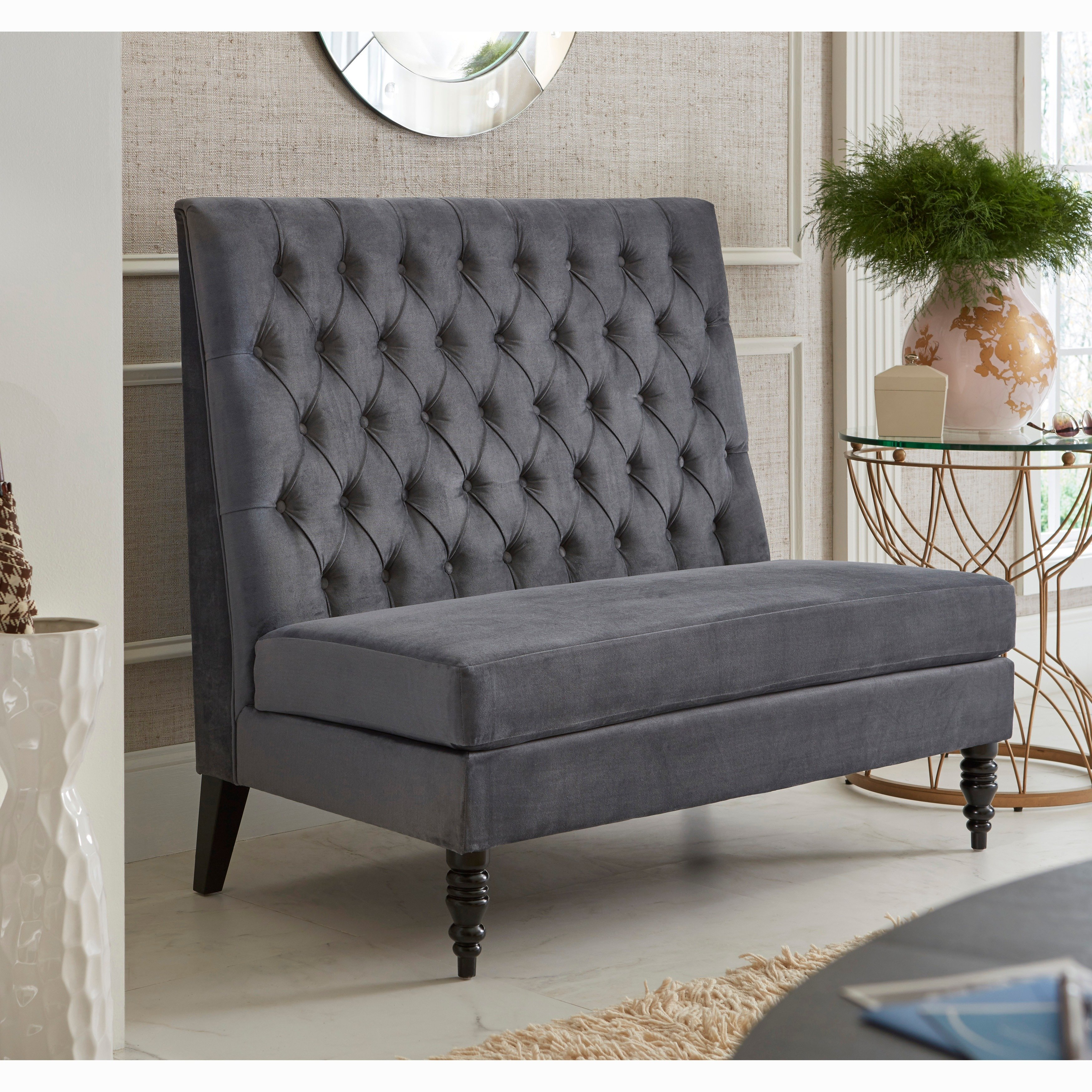Sofaweb Silver/Grey Velvet Tufted Upholstered Banquette Bench