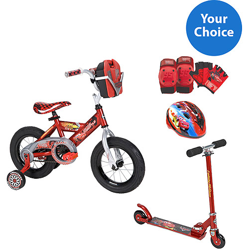 "Your Choice:  12""/14""/16"" Huffy Disney Cars Boys' Bike or Inline Folding Kick Scooter w/ Safety Gears Bundle"