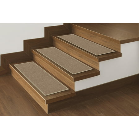 "Ottomanson Non Slip Rubber Backing Stair Tread, Dark Beige, 8.5"" X 26"""