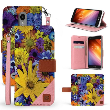 Beyond Cell Synthetic Leather Wallet Case (Yellow Spring Flowers) Compatible with LG Aristo 3, Tribute Empire, Rebel 4, Phoenix 4 with Tempered Glass Screen Protector and Atom Cloth Yellow Flowers Protector Faceplate