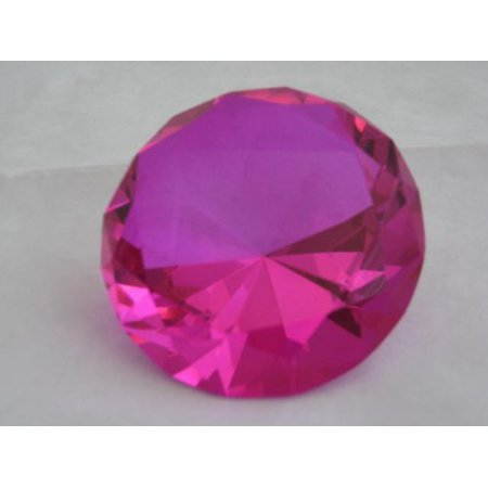 Hot Pink Glass Diamond Shaped Paperweight 3.15 INCHES (80 MM), Size: 80 mm (diameter) By Dr Dry