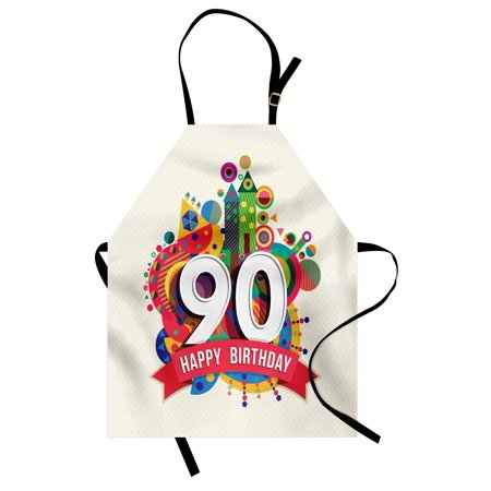 90th Birthday Apron Funky Pop Style Geometrical Fun Celebration Cute Colorful Greetings Theme, Unisex Kitchen Bib Apron with Adjustable Neck for Cooking Baking Gardening, Multicolor, by Ambesonne - Ideas For 90th Birthday Celebrations