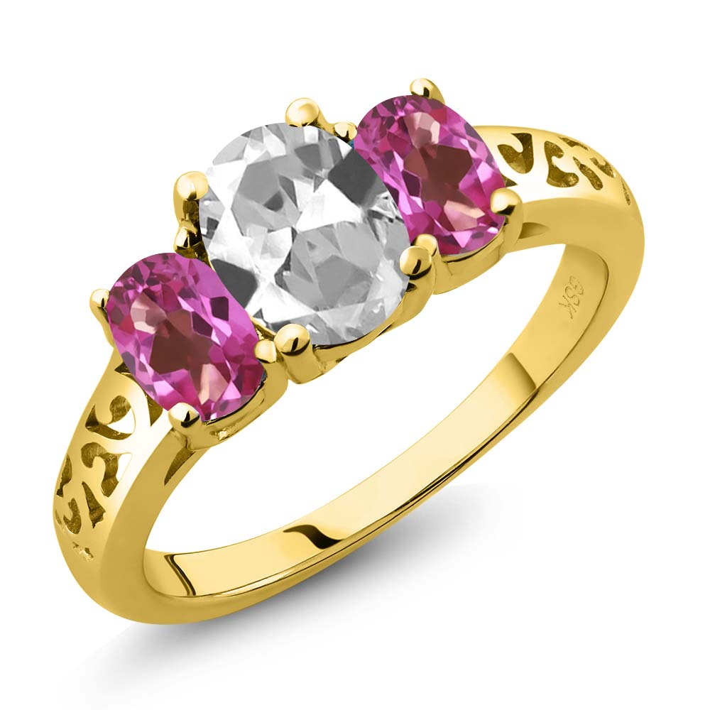 2.30 Ct Oval White Topaz Pink Mystic Topaz 18K Yellow Gold 3-Stone Ring by