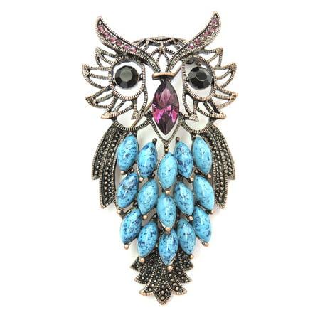 Faship Purple Crystal Big Owl Halloween Pin Brooch for $<!---->