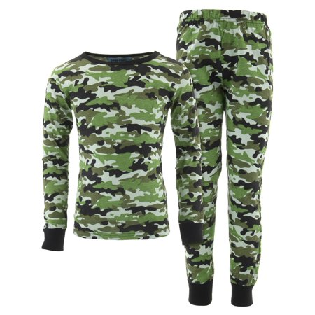Green Christmas Pajama - Dead Tired Boys Green Camo Cotton Pajamas