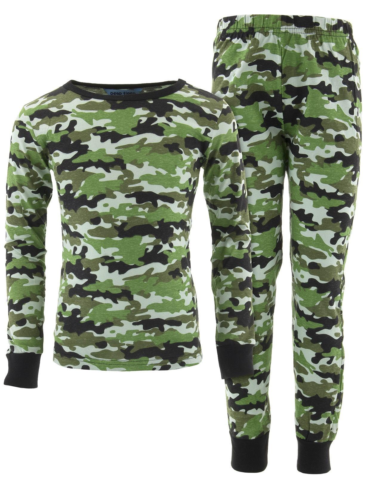 Dead Tired Boys Green Camo Cotton Pajamas