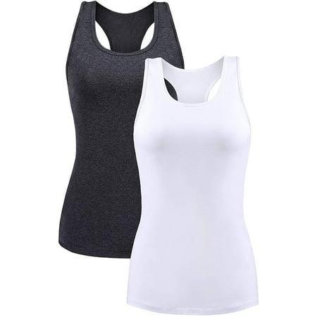 Charmo Women's Camisole Stretch Cotton Racerback Tank Top Shelf Bra Undershirt Cami