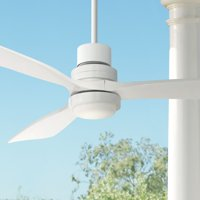 """52"""" Casa Vieja Modern Outdoor Ceiling Fan with Light LED Delta-Wing White Wood Opal Glass Damp Rated for Patio Porch"""
