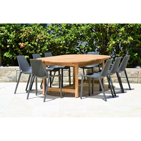 Havenside Home  Perce White 9-piece Double Extendable Patio Dining Set Dark Grey