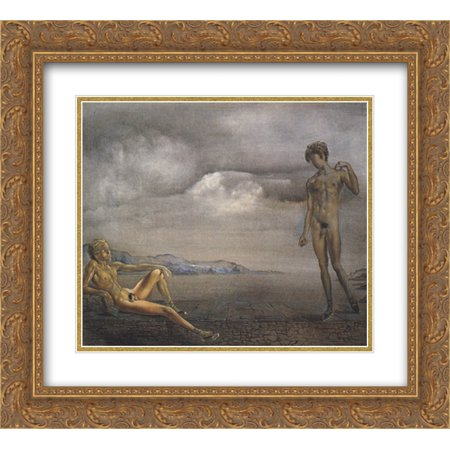 Adolescent Art (Salvador Dali 2x Matted 22x20 Gold Ornate Framed Art Print 'Two)
