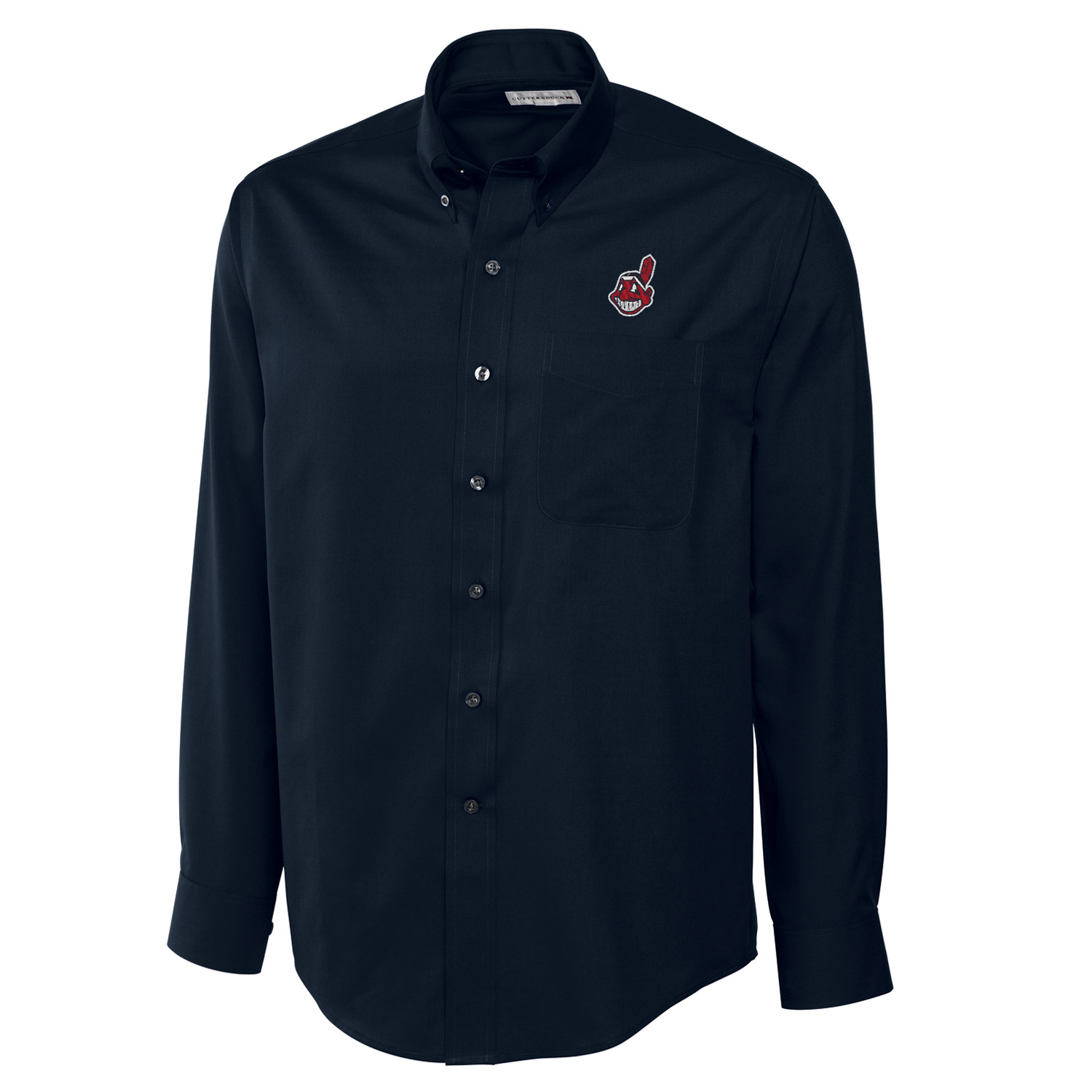 Cleveland Indians Cutter & Buck Big & Tall Epic Easy Care Fine Twill Long Sleeve Shirt - Navy