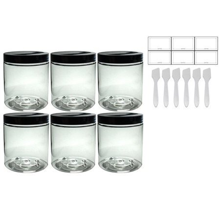 Clear PET Plastic (BPA Free) Refillable Jar - 19 oz (6 pack) + Spatulas and Labels (Printable Labels For Halloween Jars)