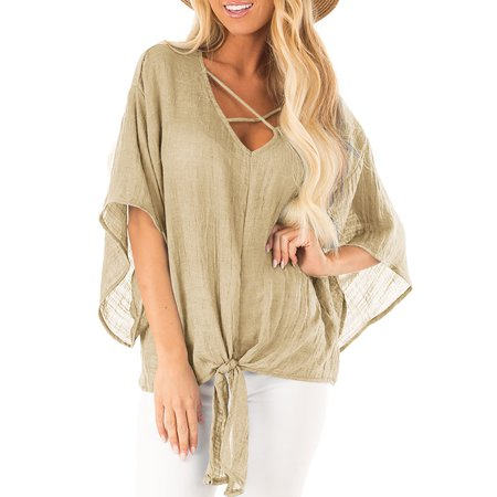 UKAP Women's 3/4 Sleeve Cotton Linen V Neck Lace Up Blouses Batwing Tie Knot Top Cotton Loose Cover-up Beach Shirts