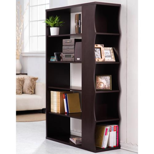 Furniture of America Sydney Modern Walnut Bookshelf/Room Divider
