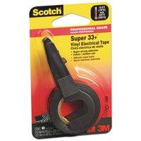 Super 33+ Vinyl Electrical Tape w/Dispenser, 1/2 x 200 Roll, Black, Sold as 1 Roll