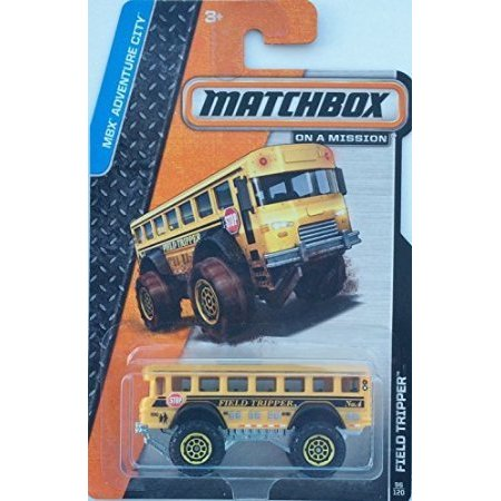 SCHOOL BUS 2014 Matchbox MBX Adventure City Series Yellow Field Tripper Bus 1:64 Scale Collectible Die Cast Metal Toy Car Model #96/120