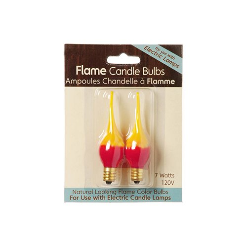Pack of 2 Red & Yellow Fire Flame Electric Candle Lamp Replacement Light Bulbs